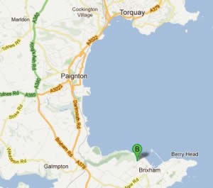 Brixham caravan holiday park location map